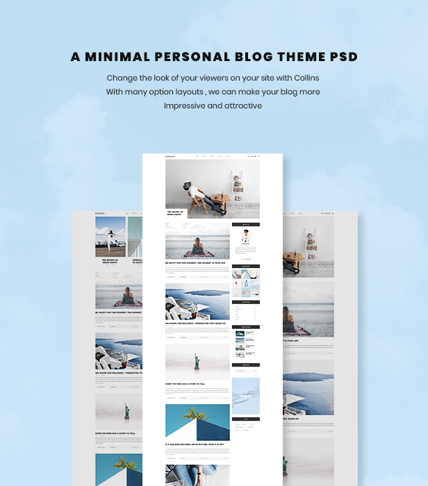 \ Collins – Minimalist & Personal Blog PSD Template Nulled Free Download info